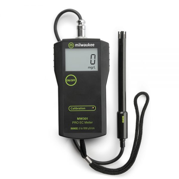 Milwaukee MW301 Portable EC meter with replaceable probe is ideal for water testing applications in laboratories as well as in the field.
