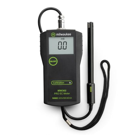 The Milwaukee MW302 EC meter has a range of 0.0 to 10.0 mS/cm with a 0.1 mS/cm resolution.